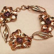 SALE Stunning rare Silver 12k GF Art Nouveau Amethyst color Flower link Bracelet