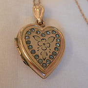SALE Early Bliss Brothers 1/20 10K gold filled rhinestone Heart Locket Necklace