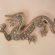 SALE Awesome sterling Marcasite Art Nouveau Dragon Brooch
