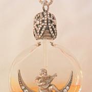 SALE Rare Sterling Austria Mandolin cherub on rhinestone half moon glass perfume Bottle ...