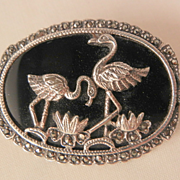 SALE Fantastic Flamingos Lilly flower Sterling marcasite onyx Brooch