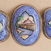 SALE Asian blue white enamel hand painted birds c clasp early mid century Brooch
