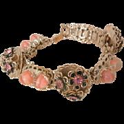 SALE Rare vintage Mid Century book chain link pink quartz bead pink rhinestone Bracelet