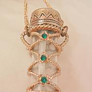 Beautiful vintage signed L Razza Georgian style Emerald green rhinestones large perfume bottle Necklace