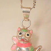 SALE Fabulous Sterling enamel puffy cat Italy Necklace
