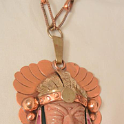SALE Fantastic huge copper Mexico carved enameled Tribal face Necklace Circa 60's