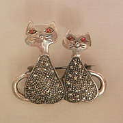 SALE Adorable sterling vintage double cats marcasite's red rhinestone eyes Brooch
