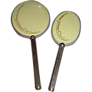 Vintage Silvertone Hand Mirror and Hairbrush Vanity Set