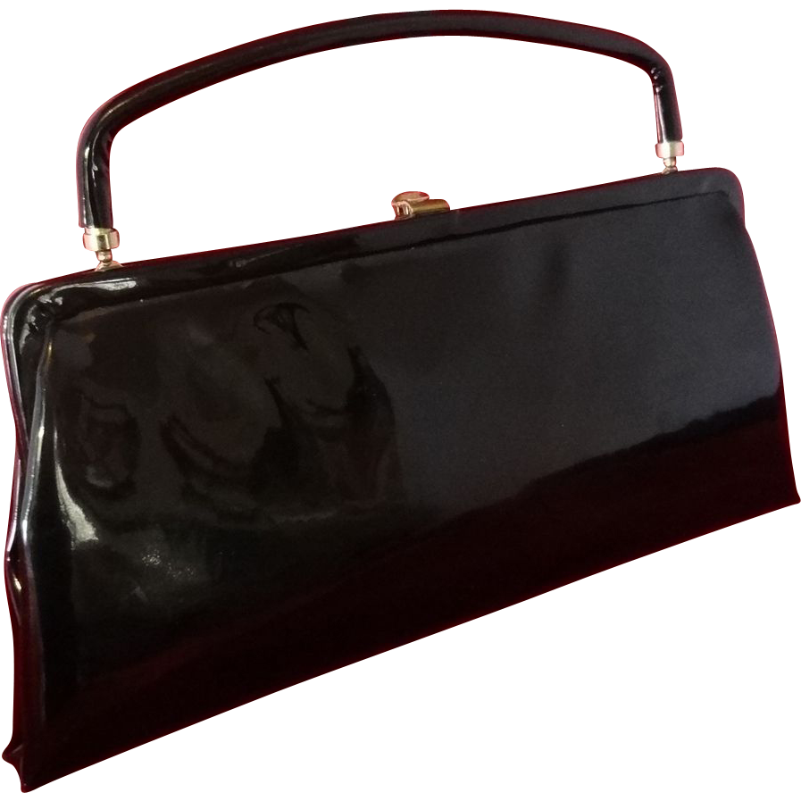Shiny Black Vinyl Convertible Clutch Handbag by After Five