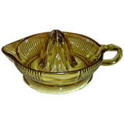SALE PENDING Vintage Amber Ribbed Glass Reamer by Federal Glass Company