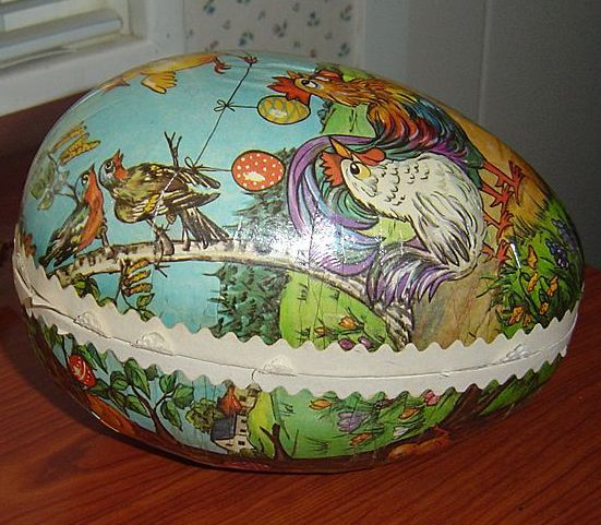 Vintage German Paper Mache Easter Egg Candy Container From