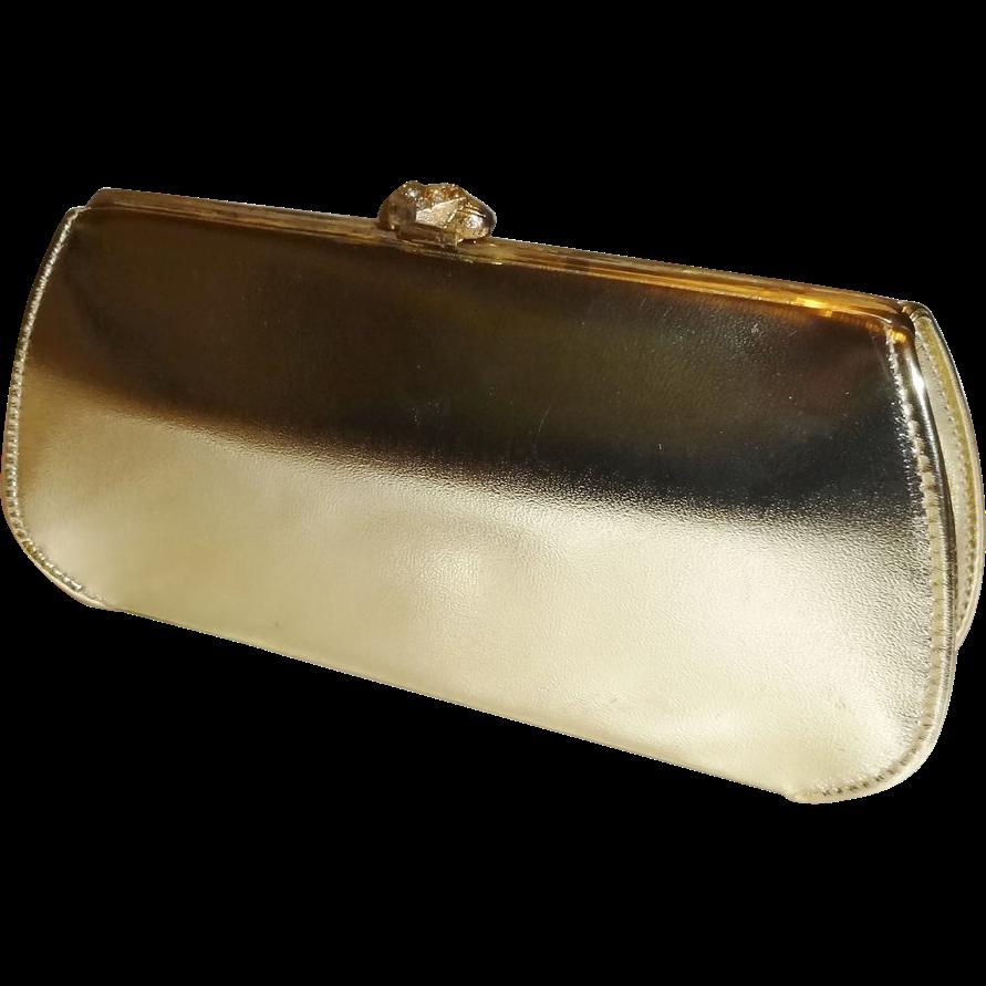 Metallic Gold Convertible Clutch Evening Handbag Purse