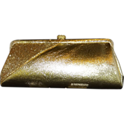 Gold Lame` with Glitter and Rhinestone Accent Convertible Clutch Evening Bag Purse
