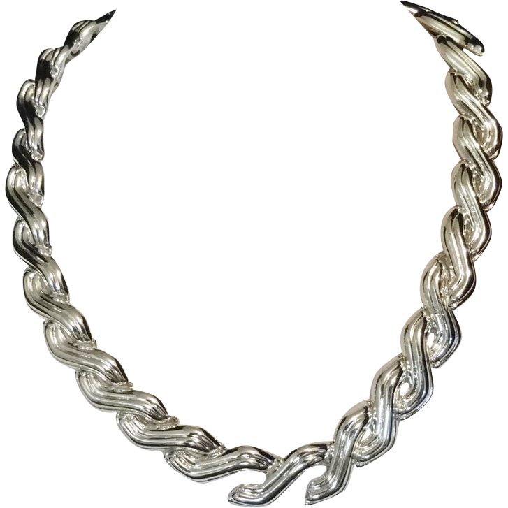 Vintage Napier Textured Silvertone Metal Link Necklace