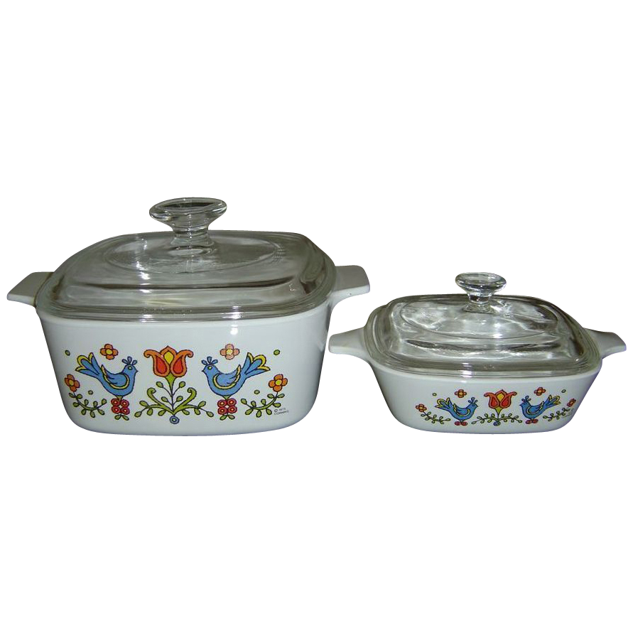Two Corning Ware Country Festival Dishes  1 1/2 Quart Covered Casserole and 1 3/4 Cup Petite Pan with Lid