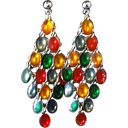Vintage Multi-Colored Cabochon Dangle Earrings