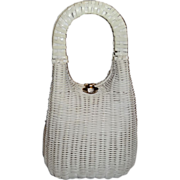 Vintage Tall Sleek White Wicker Basket Purse by Lesco Lona