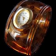 Vintage Tortoiseshell Lucite Hinged Bangle Watch