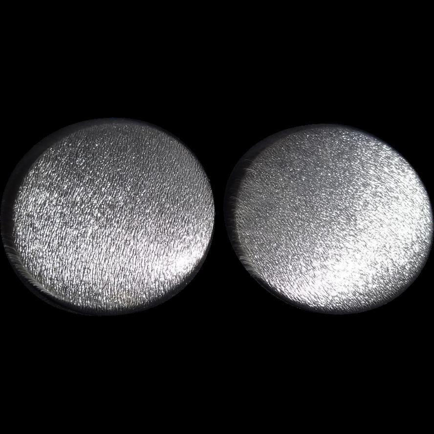 HUGE Brushed Silver Tone Metal Disc Earrings by Lisner