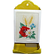 Vintage Bright Yellow Match Safe with Floral Motif