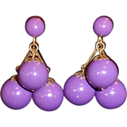 Vintage Purple Lucite Ball Dangle Drop Earrings
