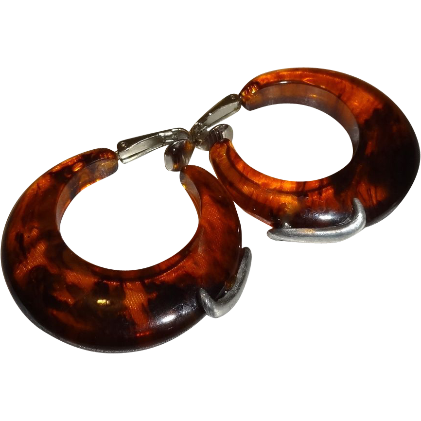 Vintage Translucent Brown Lucite Hoop Earrings with Silvertone Metal Accents
