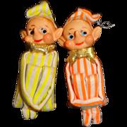 SALE Vintage Pair of Knee-Hugger Elves Christmas Ornaments