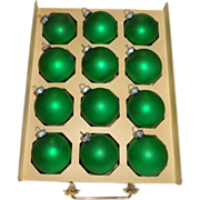 SALE 12 Shiny Brite Green Satin Finish Glass Christmas Ornaments in Original Box
