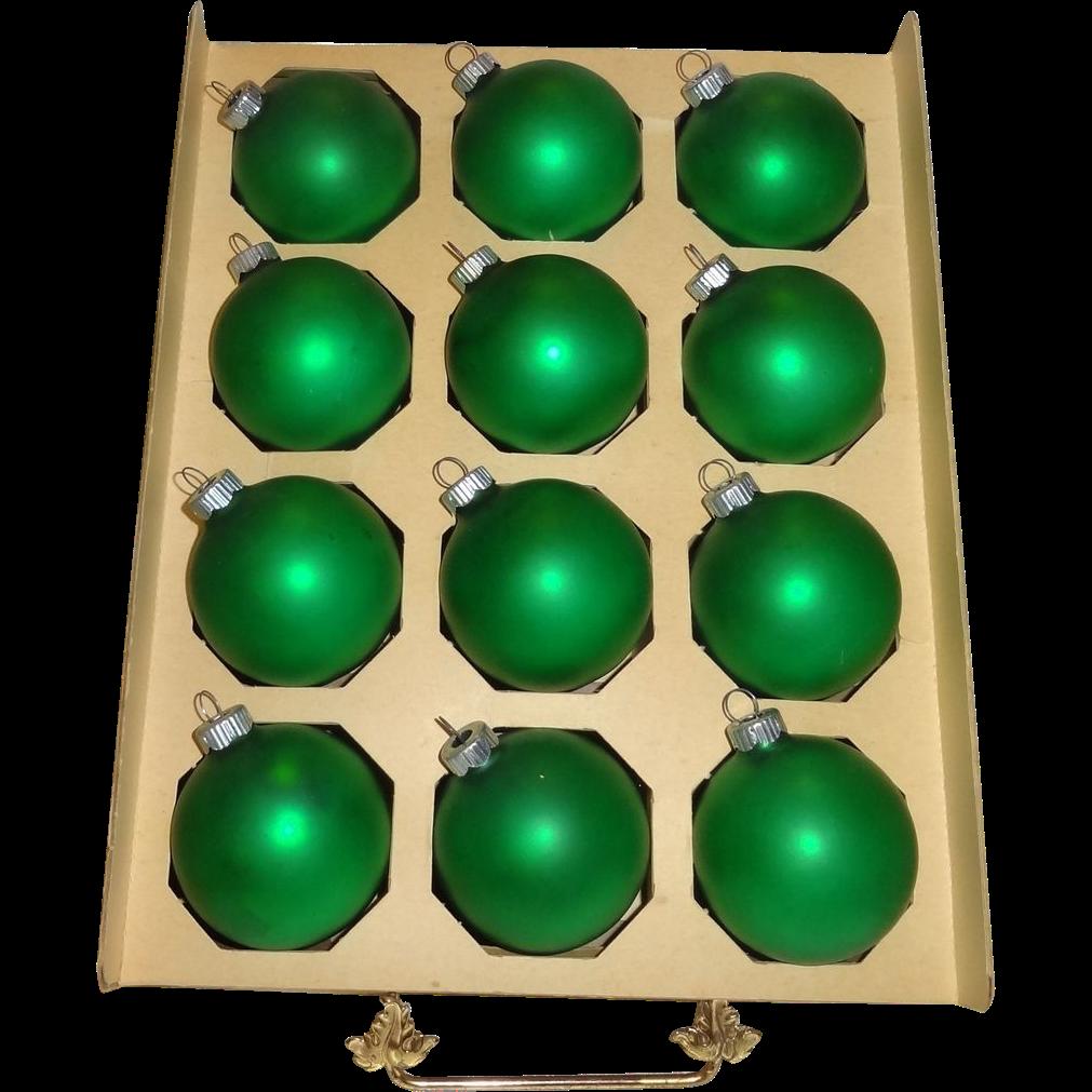 12 Shiny Brite Green Satin Finish Glass Christmas Ornaments in Original Box