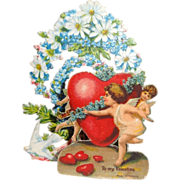 Vintage German Die-Cut Fold Out 3-D Valentine with Cherubs and Forget-Me-Nots