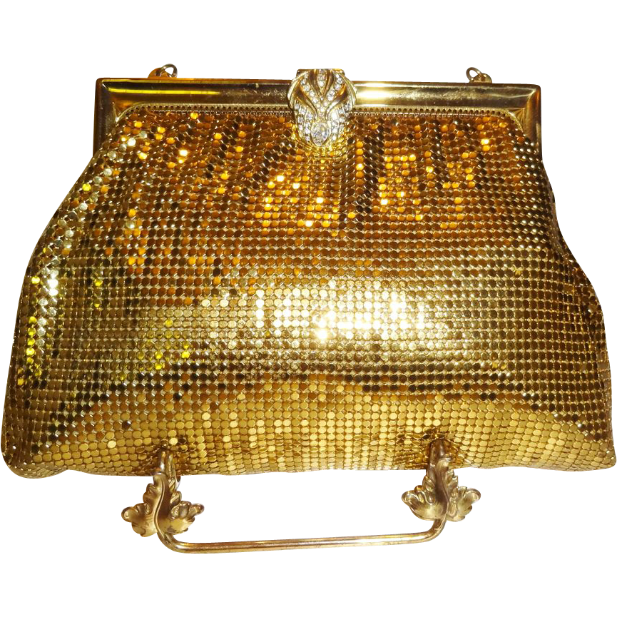 Stunning Vintage Whiting and Davis Goldtone Metal Mesh Evening Bag with Rhinestone Clasp