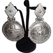Vintage Chunky Embossed Silver Tone Metal clip Earrings by RJ Graziano