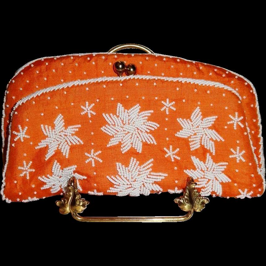 Vintage Hand Beaded Orange Silk Purse by Magid