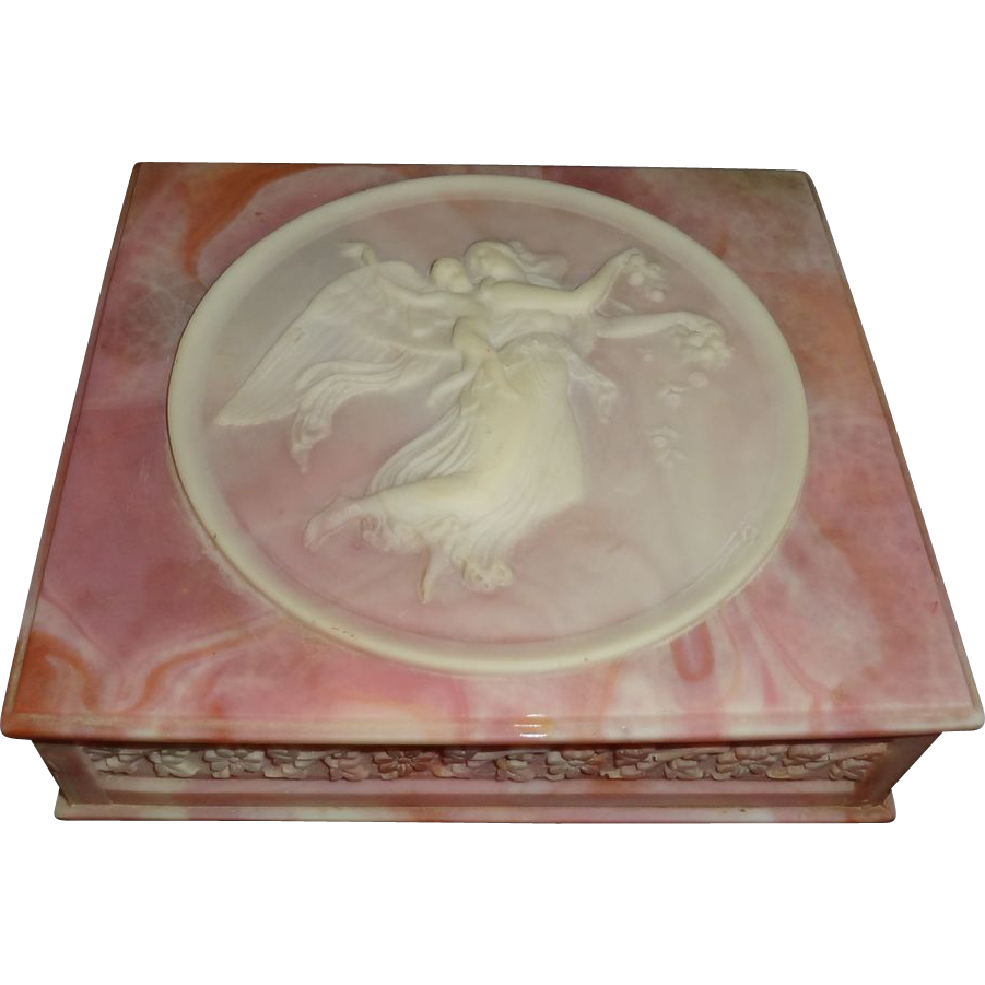 Vintage Incolay Stone Hinged Jewelry Box
