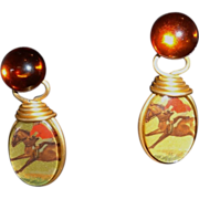 Vintage Equestrian-Themed Reversible Drop Earrings