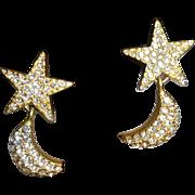 SALE PENDING Vintage Pave` Rhinestone Star and Moon Clip Earrings