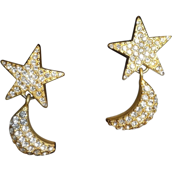 Vintage Pave` Rhinestone Star and Moon Clip Earrings