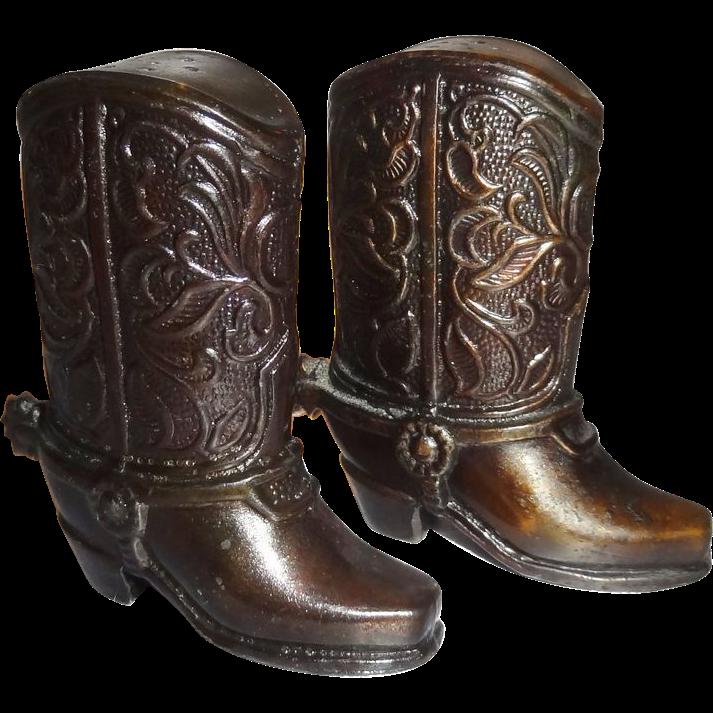 Vintage Metal Cowboy Boot Salt and Pepper Shakers Made in Japan