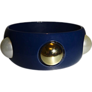 Vintage Blue Lucite Bangle Bracelet with Gold Tone and Faux Pearl Cabochons
