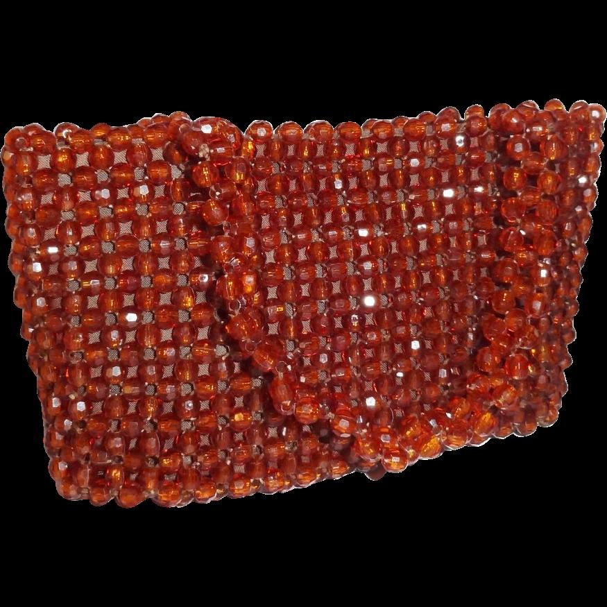 Vintage Brown Plastic Beaded Purse