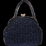 SOLD Vintage Large Structured Navy Blue Raffia Handbag