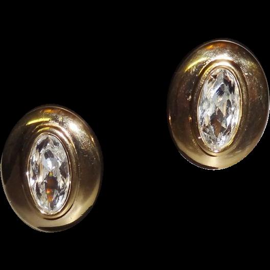 Vintage Faceted Swarovski  Clear Crystal Earrings signed SAL