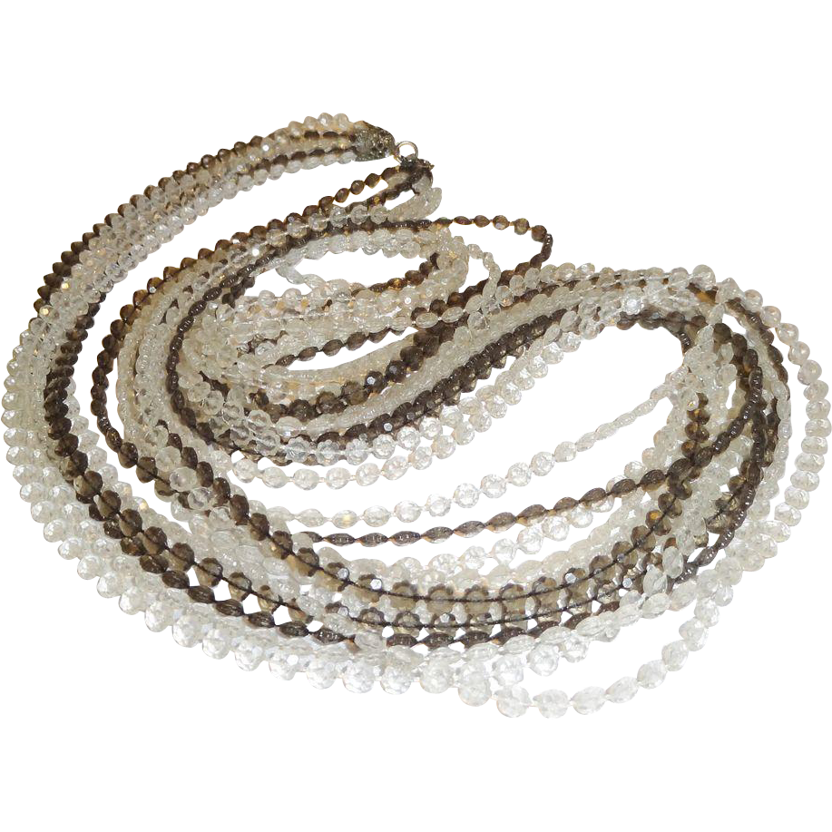 Vintage 1960's Clear and  Gray Plastic Beaded Flapper Length Necklace