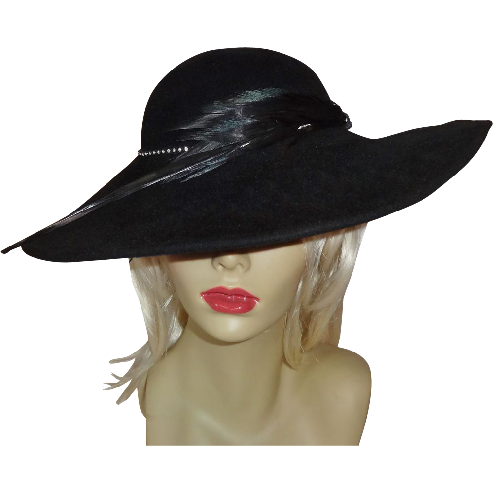 Vintage Dramatic Black Sonni San Francisco Hat