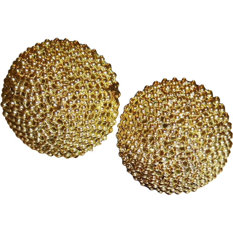 Vintage HUGE Gold Tone Metal Domed Button Earrings