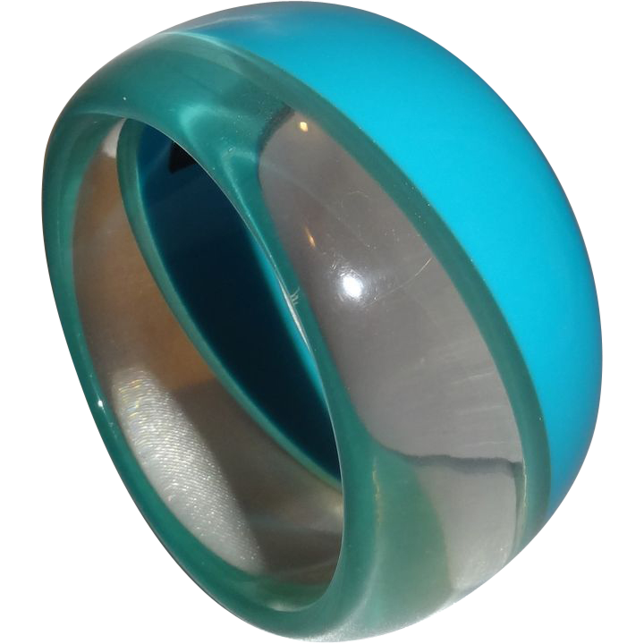 Vintage Blue and Clear Lucite Bracelet by R. J. Graziano