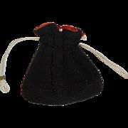 SOLD Vintage Reversible Black and Red Beaded Drawstring Bag Made in Hong Kong