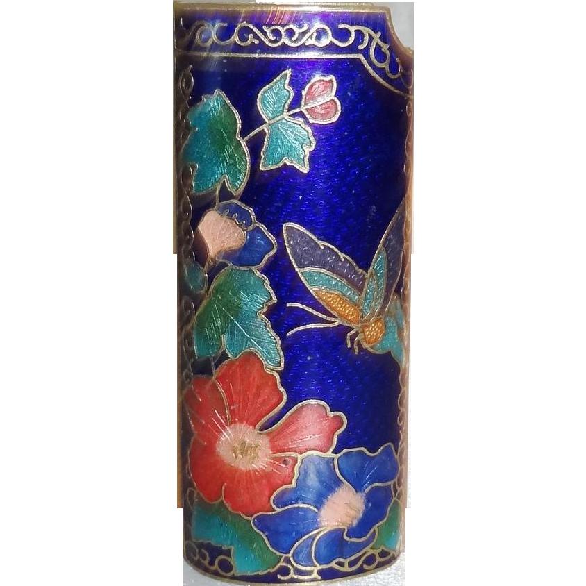 Vintage Blue Cloisonne Enamel Lighter Cover MINT