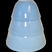 """Pyrex Delphite Blue """"Bluebelle"""" Mixing Bowls"""