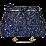 SALE Blue Carnival Glass Beaded Bag
